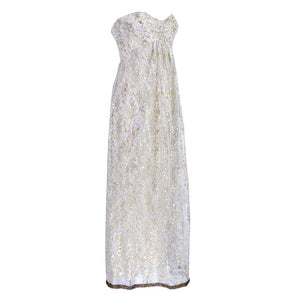 Vintage DE LA RENTA 60s Silver & Gold Metallic Gown, side