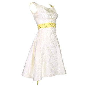Vintage 60s White Brocade Cocktail Dress, side