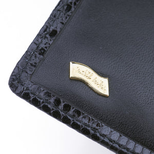 Vintage LEIBER 80s Black Leather Wallet, cartouche