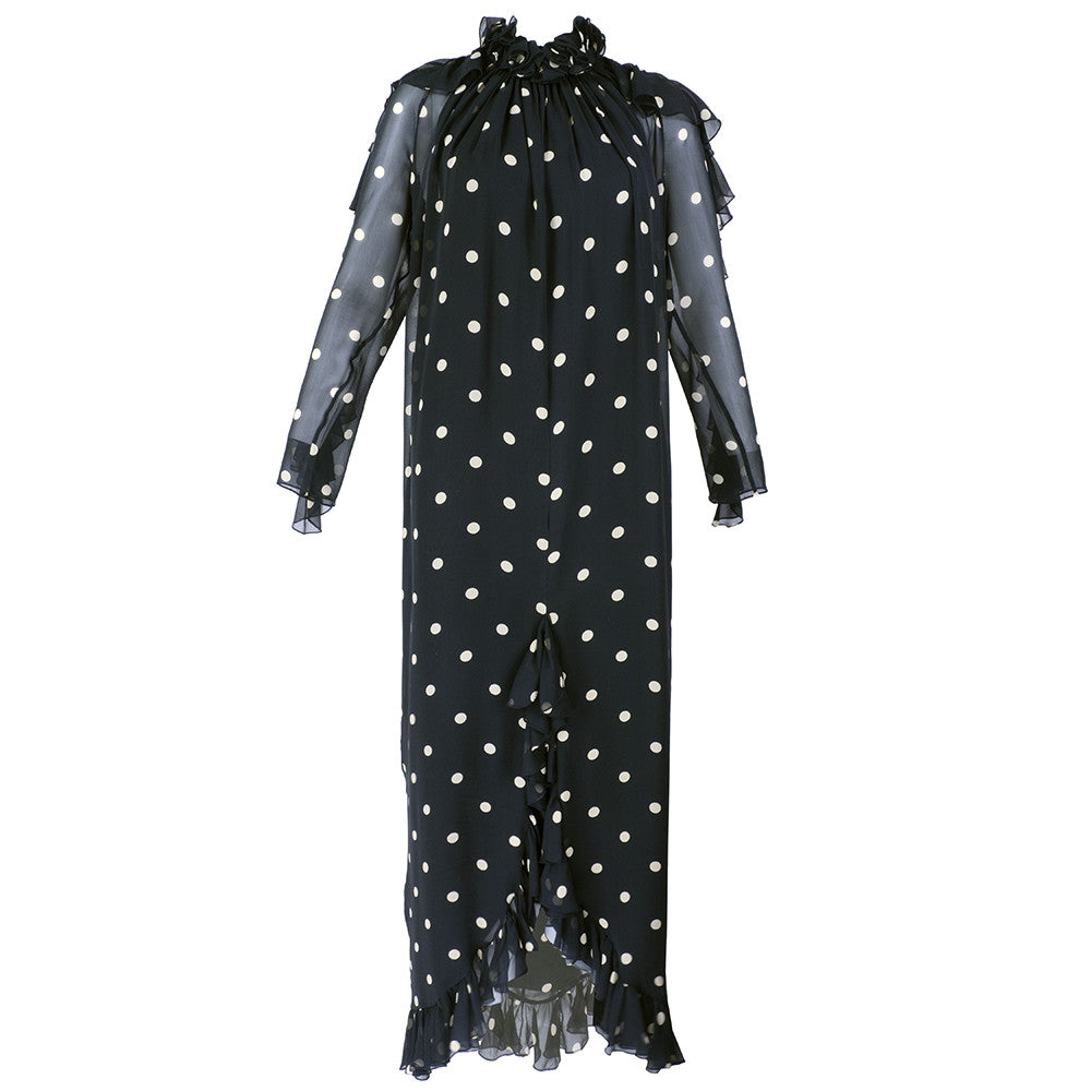Vintage BLASS 70s Polka-Dot Gown Front 1 of 5
