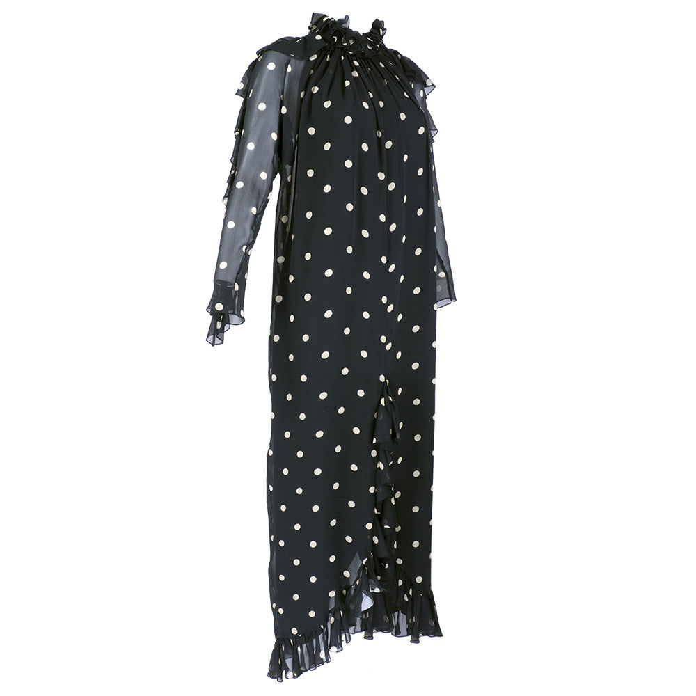 Vintage BLASS 70s Polka-Dot Gown, side 2 of 5