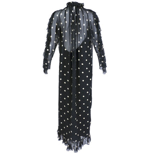 Vintage BLASS 70s Polka-Dot Gown, back3 of 5