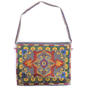 Vintage 20s Beaded Carpet Bag, back