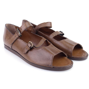 Vintage 80s Brown Double-Strap Sandals