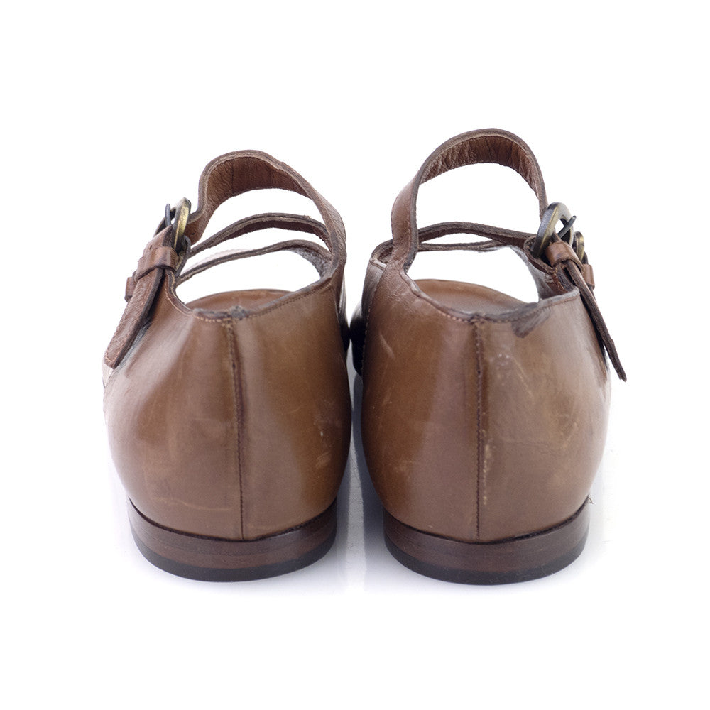 Vintage 80s Brown Double-Strap Sandals, back