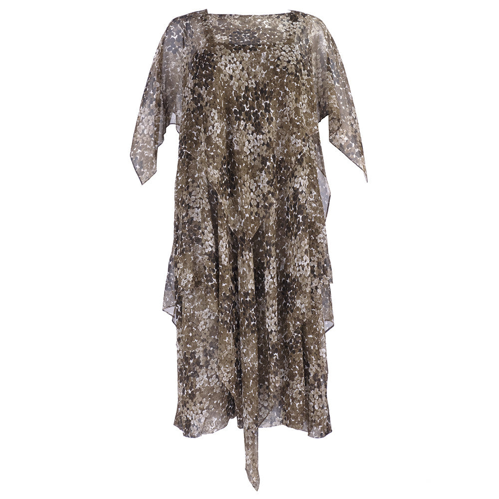 Vintage YSL 70s Brown Floral Chiffon Dress, ensemble