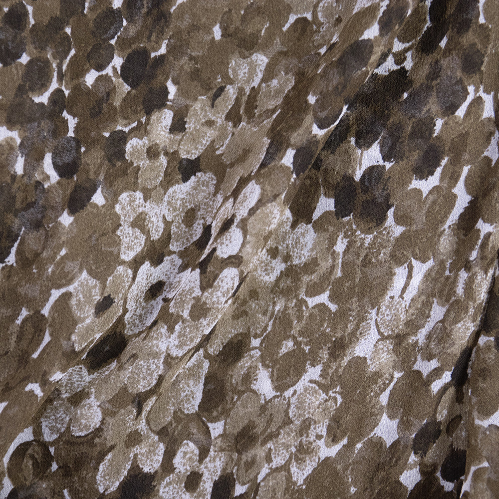 Vintage YSL 70s Brown Floral Chiffon Dress, detail 2