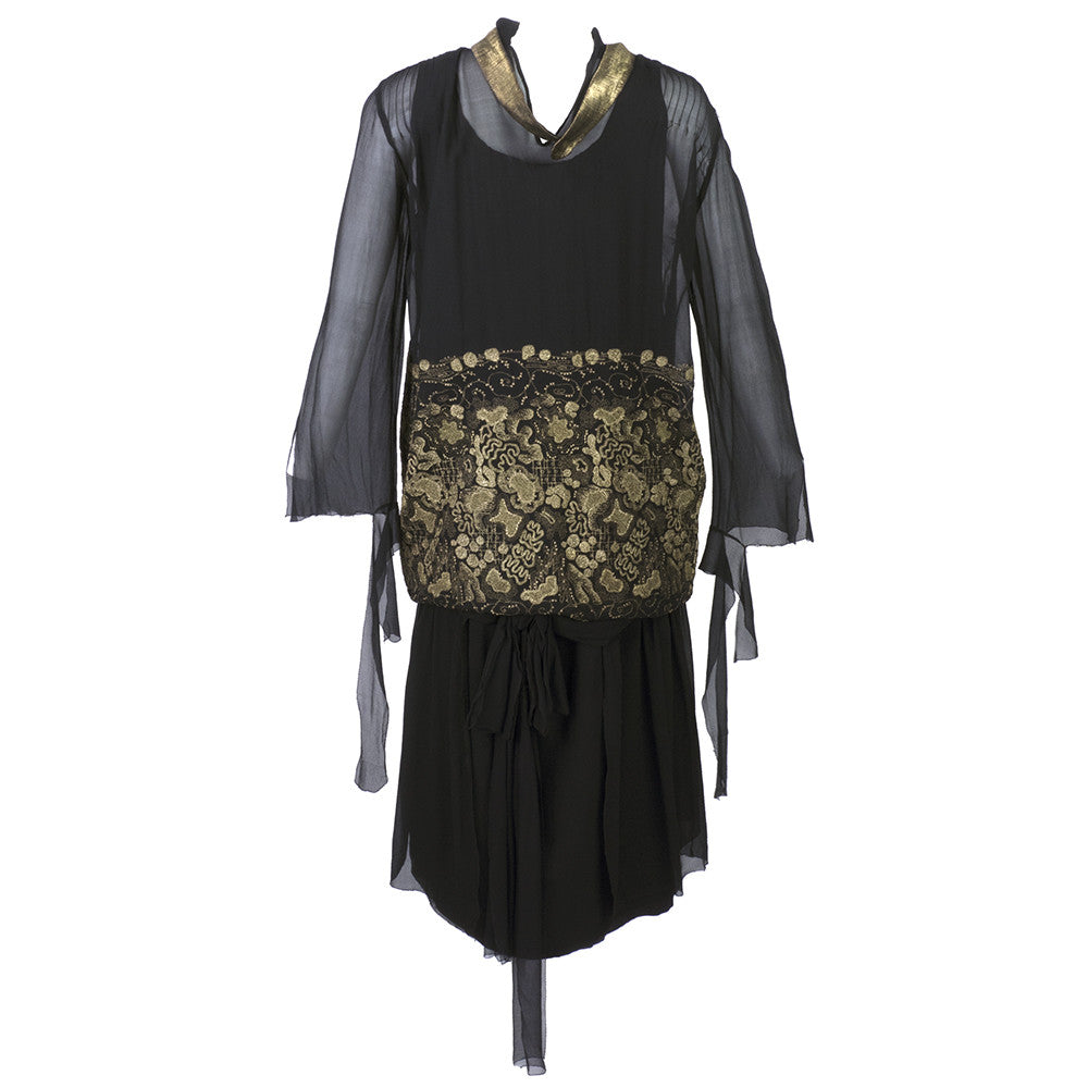 Vintage 20s Gold Embroidered Black Chiffon Flapper Dress
