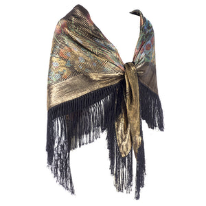 Vintage 20s Deco Lame Fringed Shawl, side