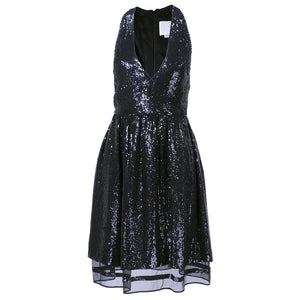 RALPH RUCCI Black Sequin Cocktail Dress