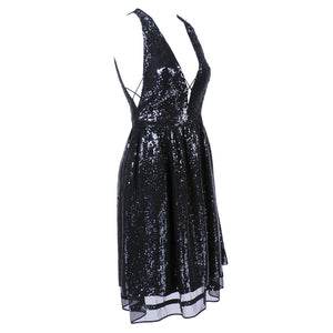 RALPH RUCCI Black Sequin Cocktail Dress, side