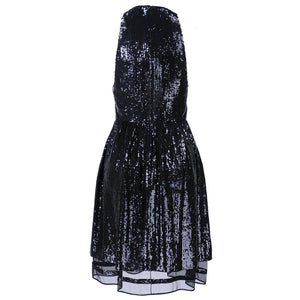 RALPH RUCCI Black Sequin Cocktail Dress, back