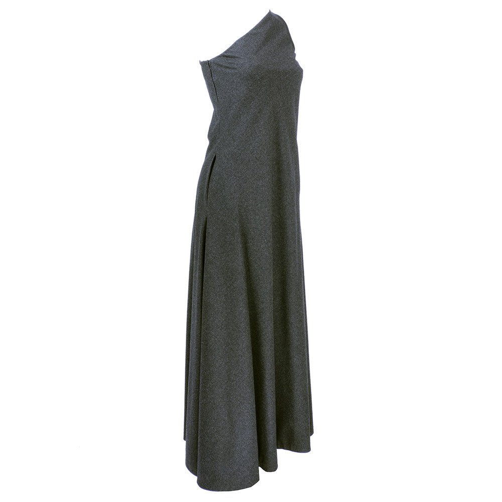 Vintage STAVROPOULOS 70s Grey Wool Gown, side