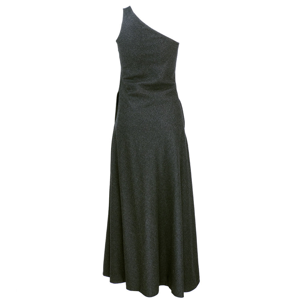 Vintage STAVROPOULOS 70s Grey Wool Gown, back