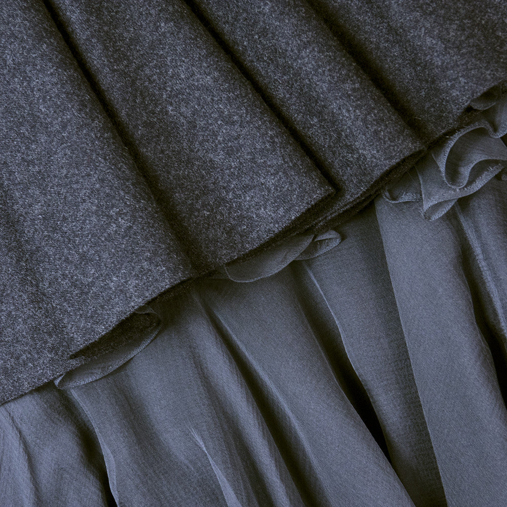 Vintage STAVROPOULOS 70s Grey Wool Gown, detail 1