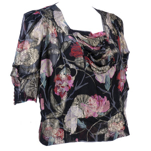 1930s Gold Lame Floral Blouse  with Draped Neckline Side 2 of 5E