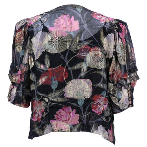 1930s Gold Lame Floral Blouse  with Draped Neckline Back 3 of 5