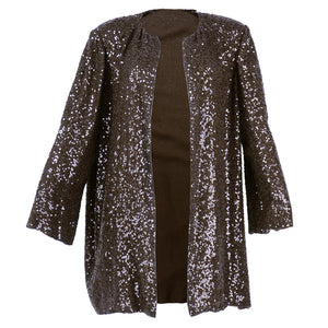 Vintage BLASS 80s Brown Sequin Evening Jacket