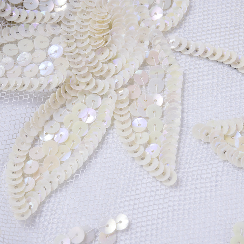 Vintage 40s White Mesh Sequined Bolero, detail 2