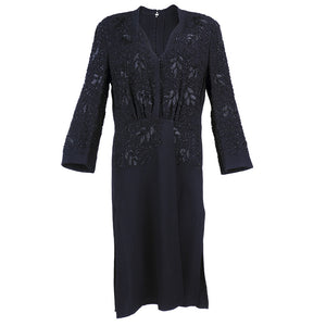Vintage 40s Black Crepe Beaded Dress