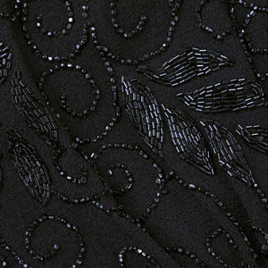 Vintage 40s Black Crepe Beaded Dress, detail 1