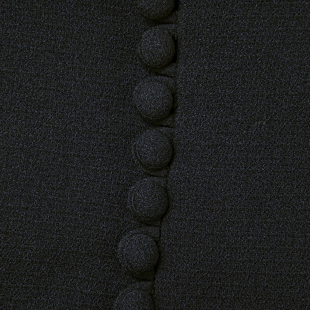 Vintage 40s Black Crepe Beaded Dress, detail 3