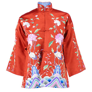 Vintage 30s Chinese Red Silk Embroidered Jacket