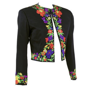 Vintage VERSACE 90s Couture Black Cropped Jacket, side