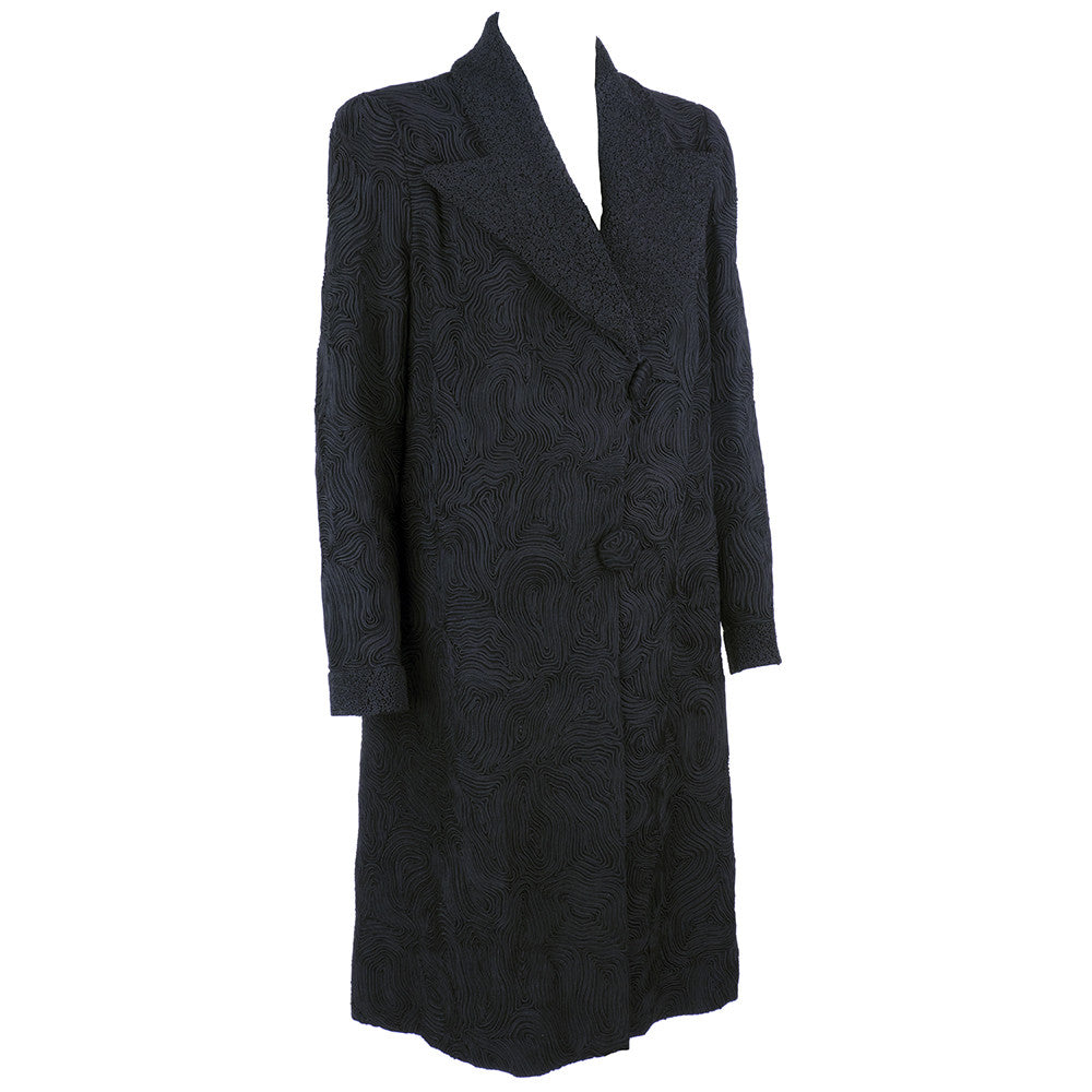 Vintage DEBENHAM & FREEBODY 30s Black Soutache Coat, side