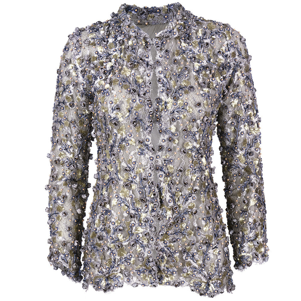 Vintage 90s Heavily Embellished Metallic Lace Jacket