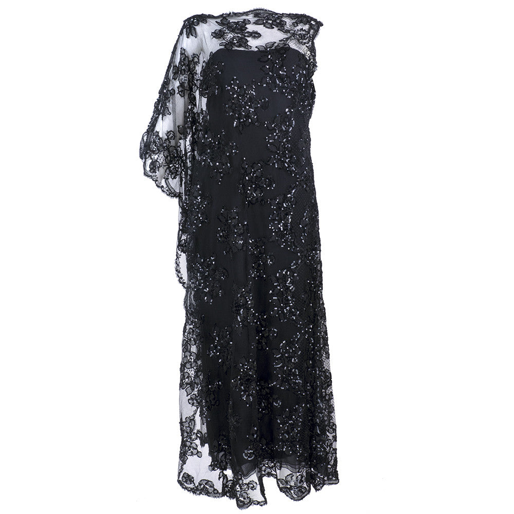 Vintage STAVROPOULOS 70s Sequin Black Lace Gown
