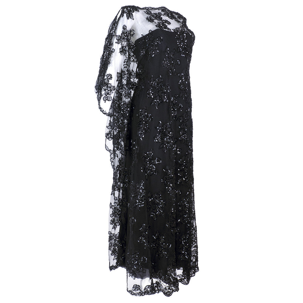 Vintage STAVROPOULOS 70s Sequin Black Lace Gown, side