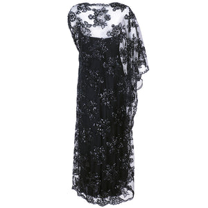 Vintage STAVROPOULOS 70s Sequin Black Lace Gown, back