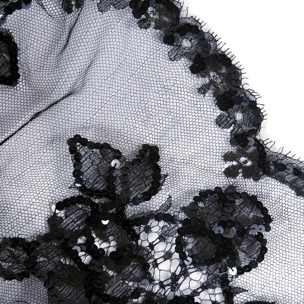 Vintage STAVROPOULOS 70s Sequin Black Lace Gown, detail 4