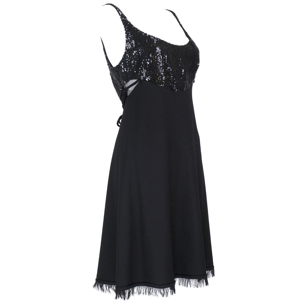 CHADO RALPH RUCCI Black Cashmere & Sequin Dress, side