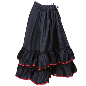 Vintage Victorian Red Trim Black Taffeta Tiered Skirt 1
