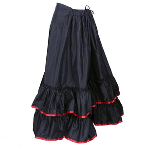 Vintage Victorian Red Trim Black Taffeta Tiered Skirt 2