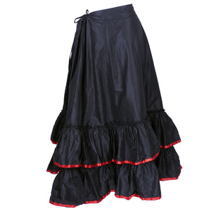Vintage Victorian Red Trim Black Taffeta Tiered Skirt 3