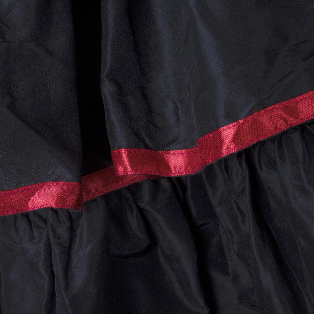 Vintage Victorian Red Trim Black Taffeta Tiered Skirt 4