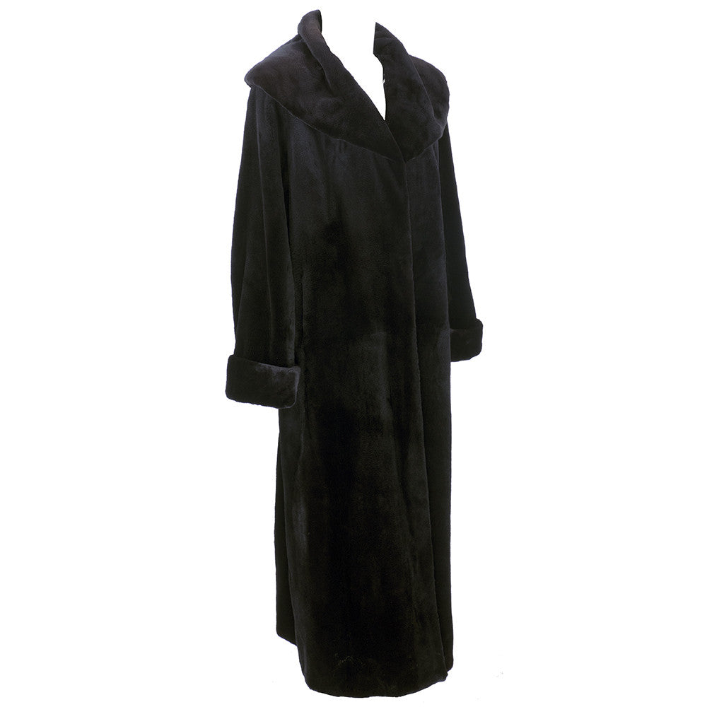 Vintage FERAUD 90s Black Sheared Fur Coat, side
