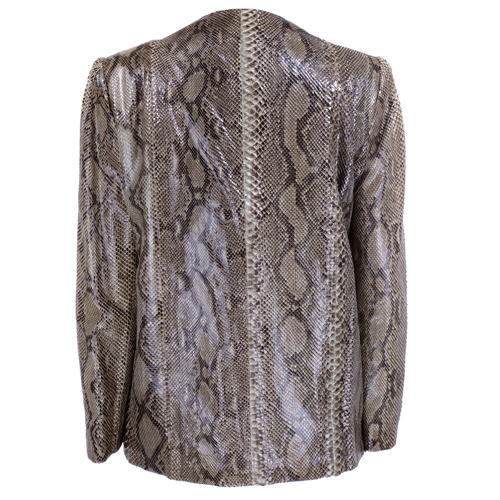 Vintage BLASS 80s Snakeskin Fur-Lined Jacket, back