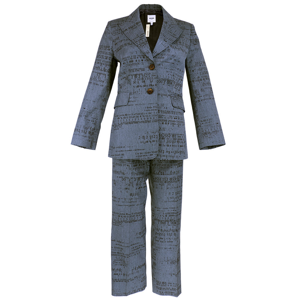 Vintage Moschino 90s Grey Binary Print Pant Suit