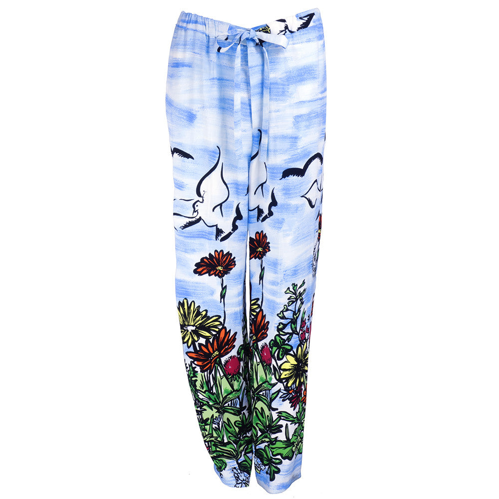 Vintage MOSCHINO 90s Painterly Floral Drawstring Pants