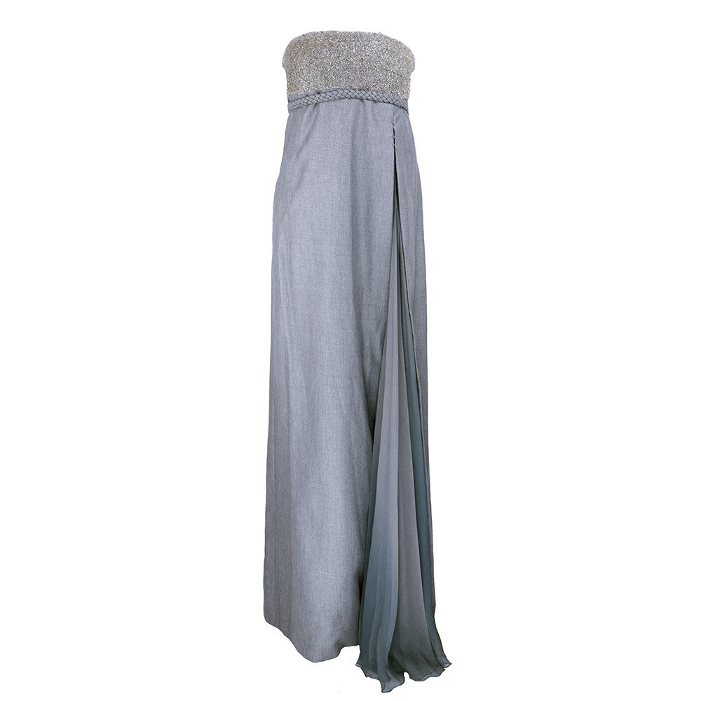 RUCCI Grey Silk Wool & Chiffon Strapless Gown