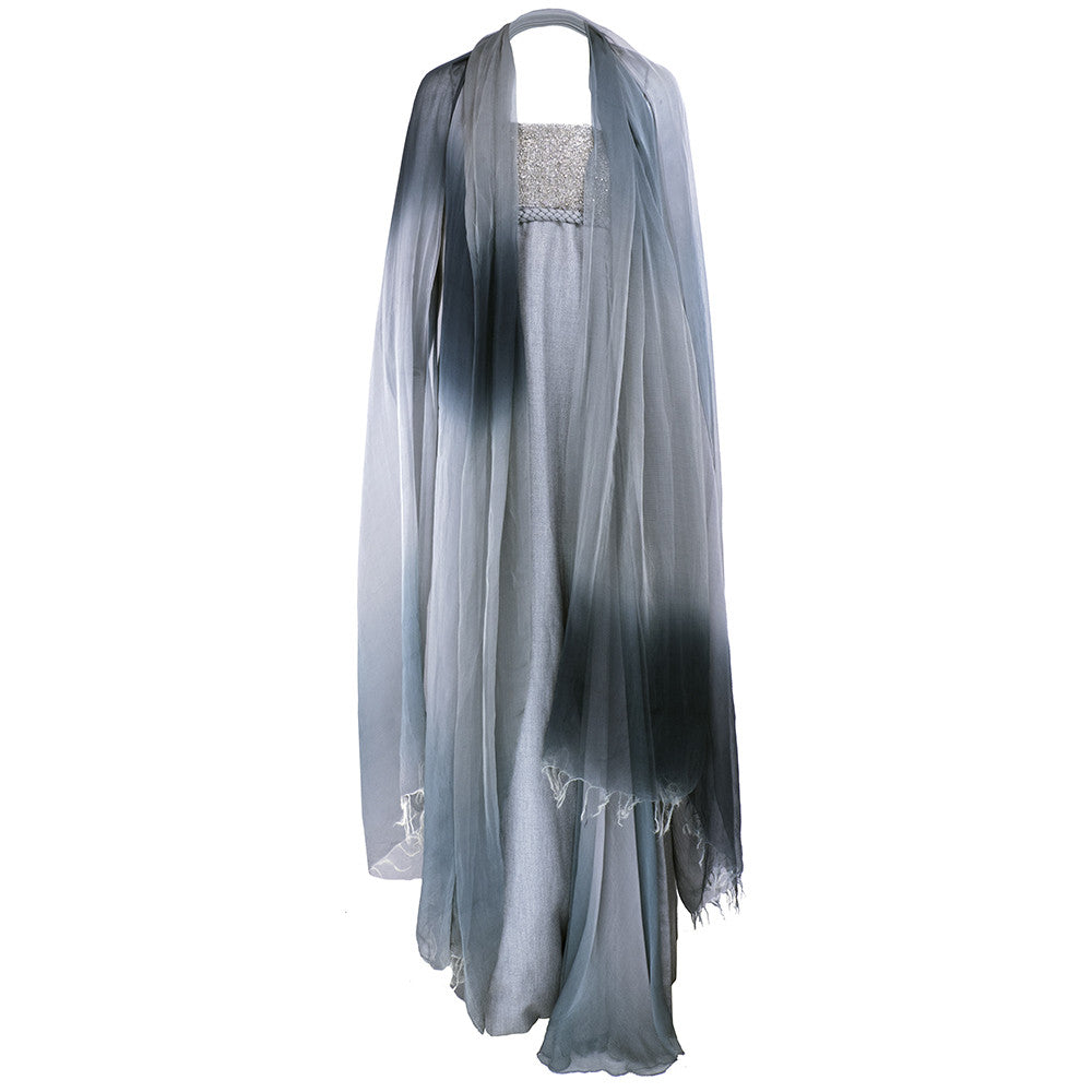 RUCCI Grey Silk Wool & Chiffon Strapless Gown, with wrap