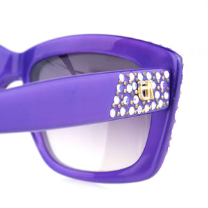 Vintage KHANH 80s Purple Rhinestone Sunglasses, detail 2