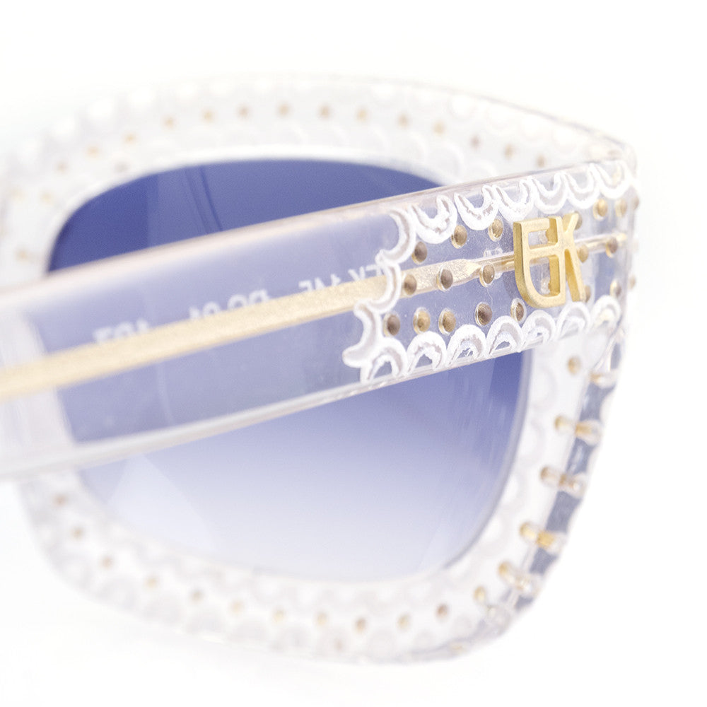 Vintage KHANH 70s Clear & Studded Sunglasses, detail 3