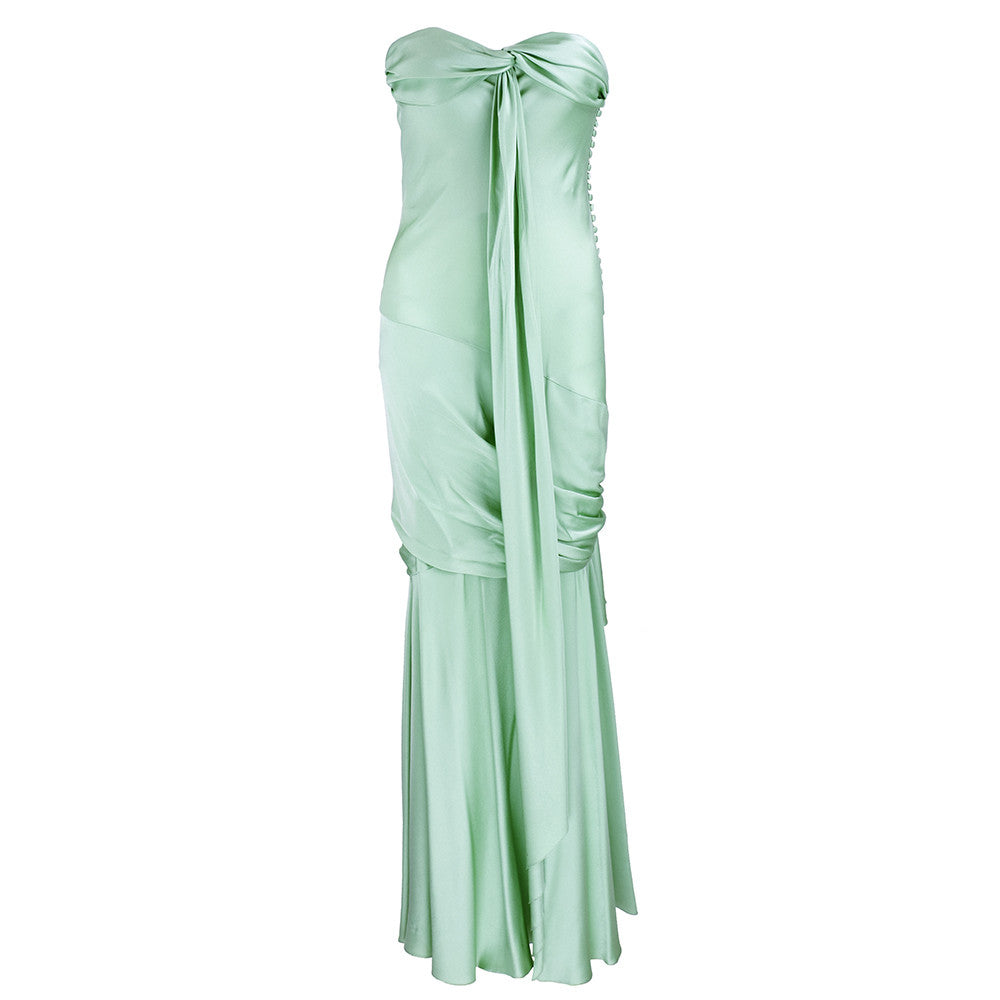 Unlabeled 30s Look Mint Green Satin Gown