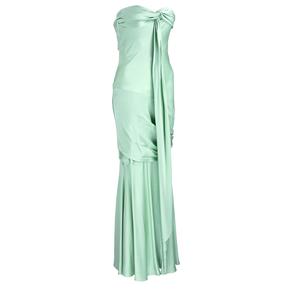 Unlabeled Galliano for Dior 30s Look Mint Green Satin Gown, side