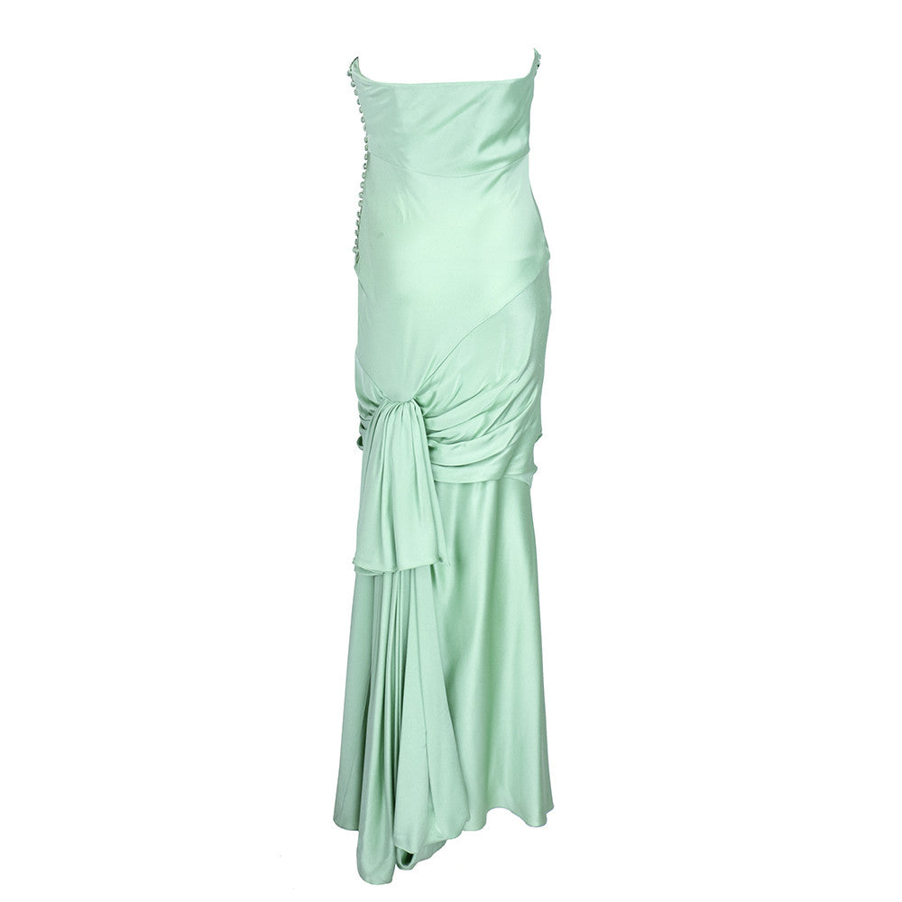 Unlabeled Galliano for Dior 30s Look Mint Green Satin Gown, back